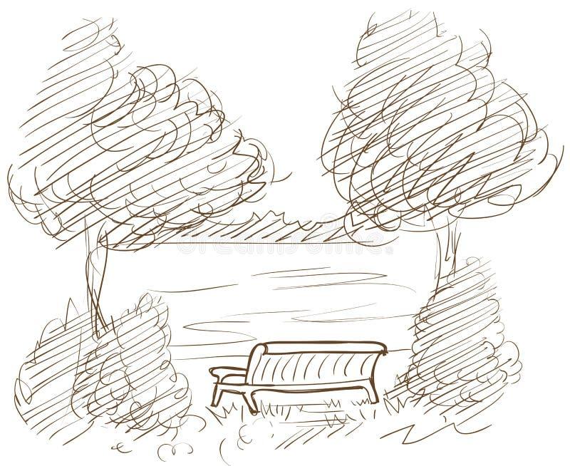 Paisagem com banco e vista no lago ilustração stock