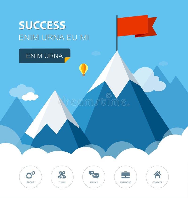 Paisagem com a bandeira na montanha Esfera 3d diferente ilustração royalty free