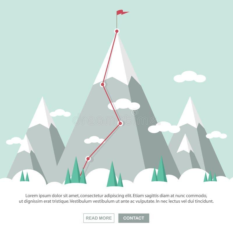 Paisagem com a bandeira na montanha Sucesso no negócio ilustração stock