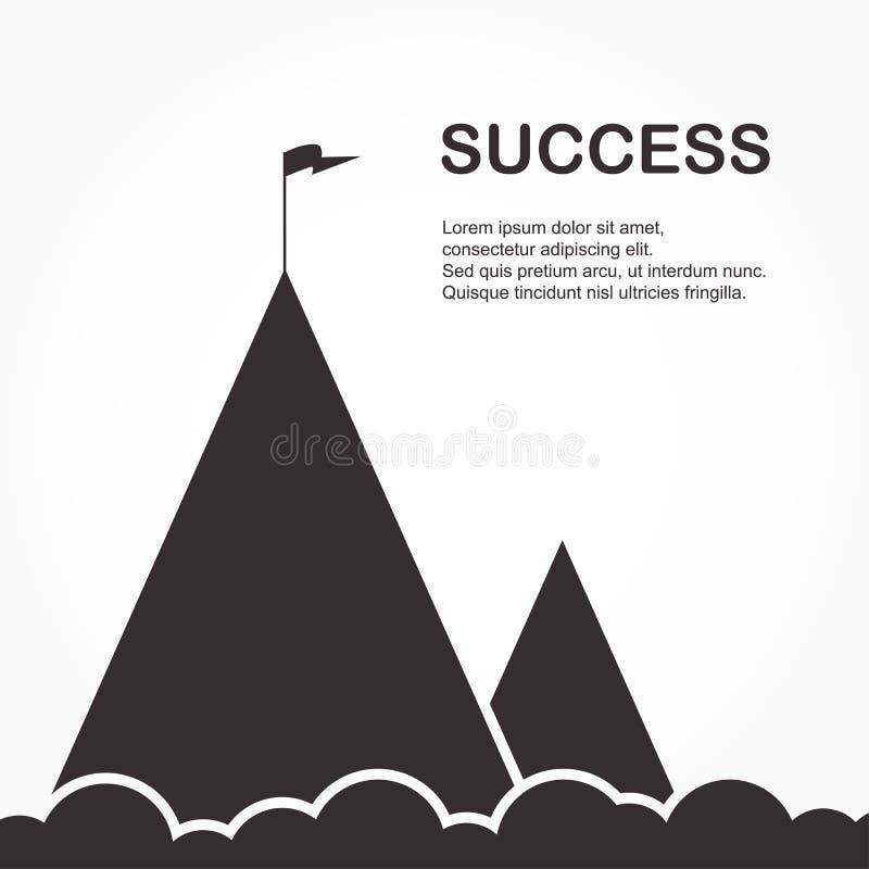 Paisagem com a bandeira na montanha Sucesso no neg?cio ilustração stock