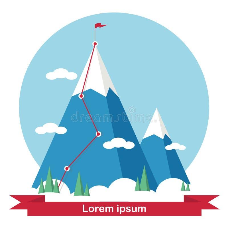 Paisagem com a bandeira na montanha Sucesso no neg?cio ilustração do vetor