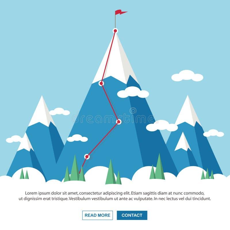Paisagem com a bandeira na montanha Sucesso no neg?cio Ilustra??o do vetor ilustração stock