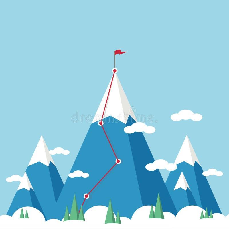 Paisagem com a bandeira na montanha Sucesso no neg?cio ilustração royalty free