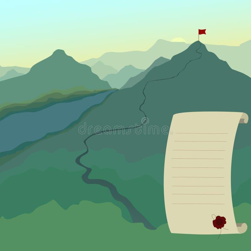 Paisagem com a bandeira no pico de montanha Fuga de caminhada Negócios imagem de stock