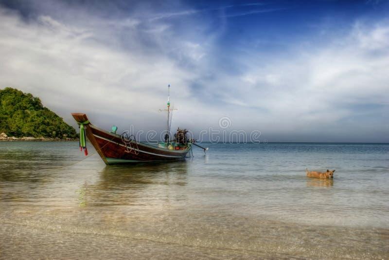 Paisagem com barco & o cão tailandeses imagem de stock royalty free