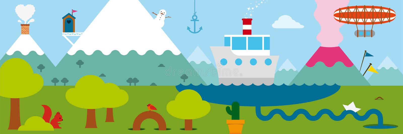 Paisagem com barcos e um zepelim ilustração stock