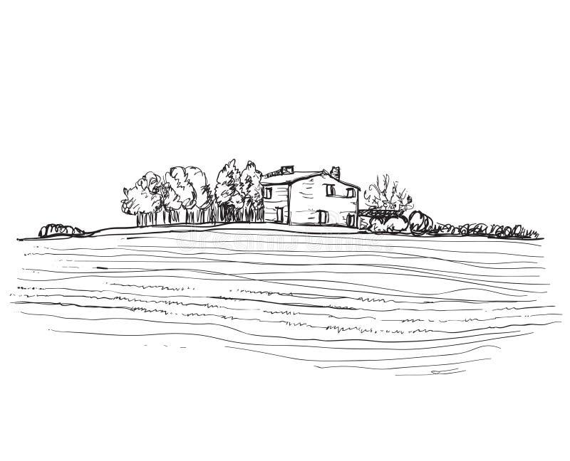 Paisagem com campos e árvores ilustração royalty free