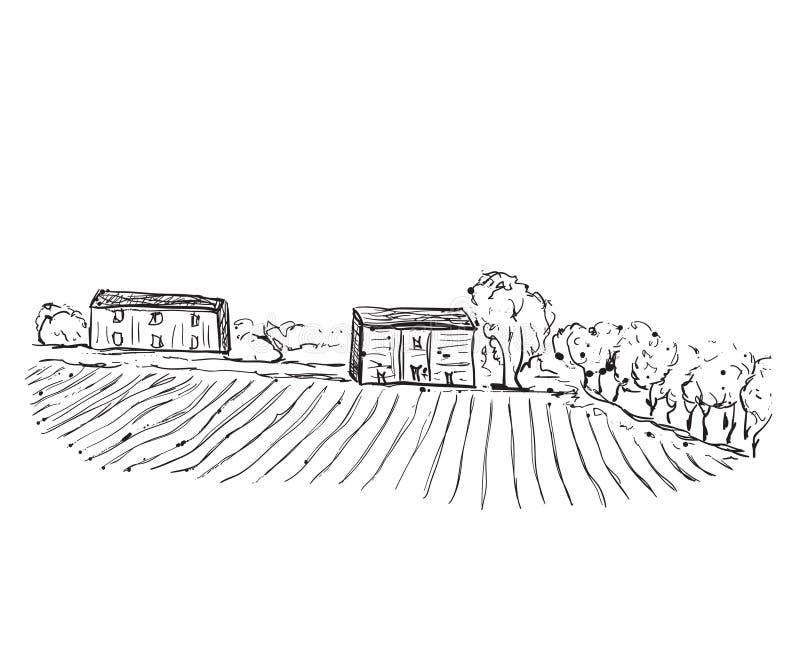 Paisagem com campos e casas ilustração do vetor