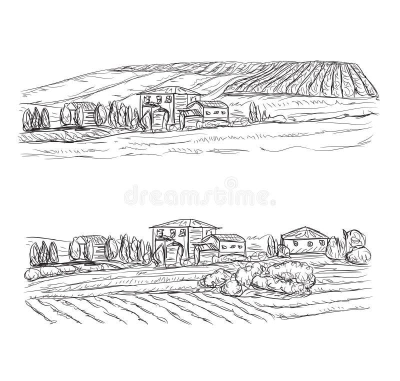 Paisagem com campos e vilas Vinhedo ilustração do vetor