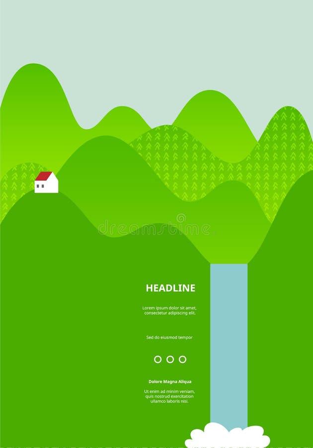 Paisagem com campos verdes Montes da curva com opinião da casa e da cachoeira Ilustrações para bandeiras, empacotamento e projeto ilustração royalty free