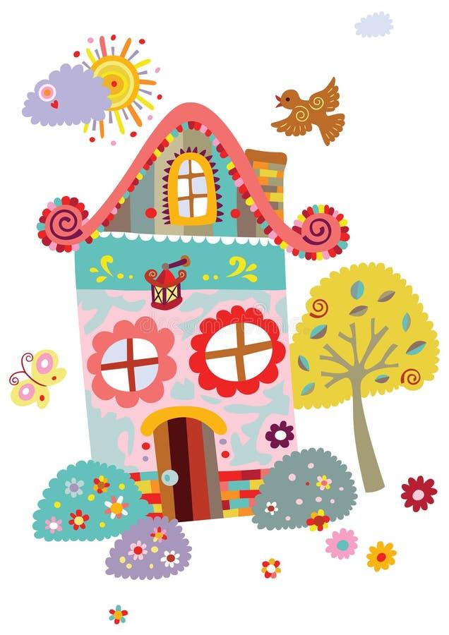 Paisagem com casa bonito e árvore ilustração royalty free