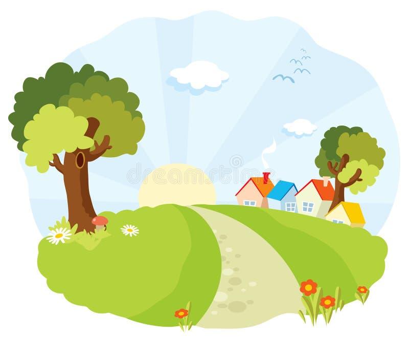 Paisagem com casas pequenas ilustração royalty free