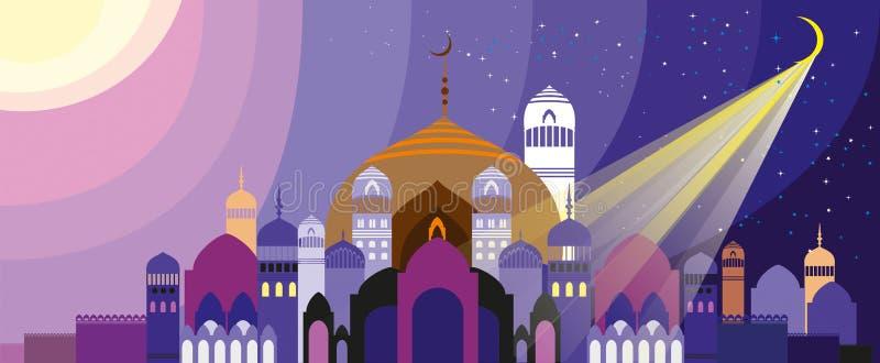 Paisagem com cidade árabe ilustração stock