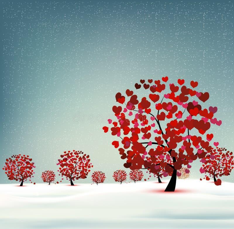 Paisagem com coração das árvores ilustração stock