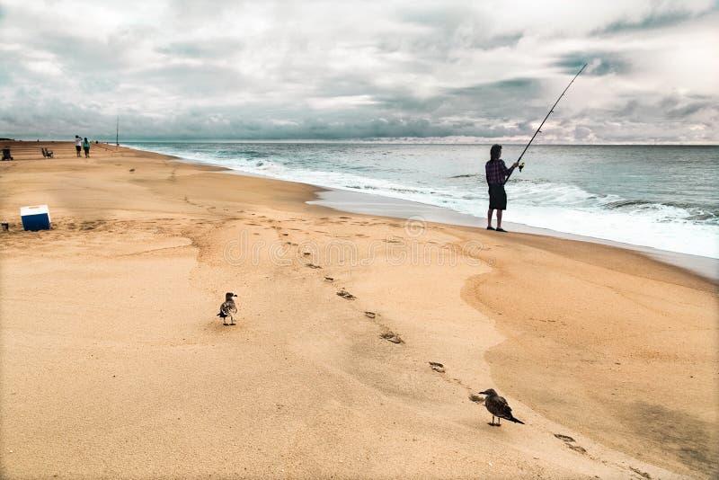 Paisagem com fishman, gaivota de mar e etapas arenosas Céu azul das nuvens brancas ensolaradas imagens de stock