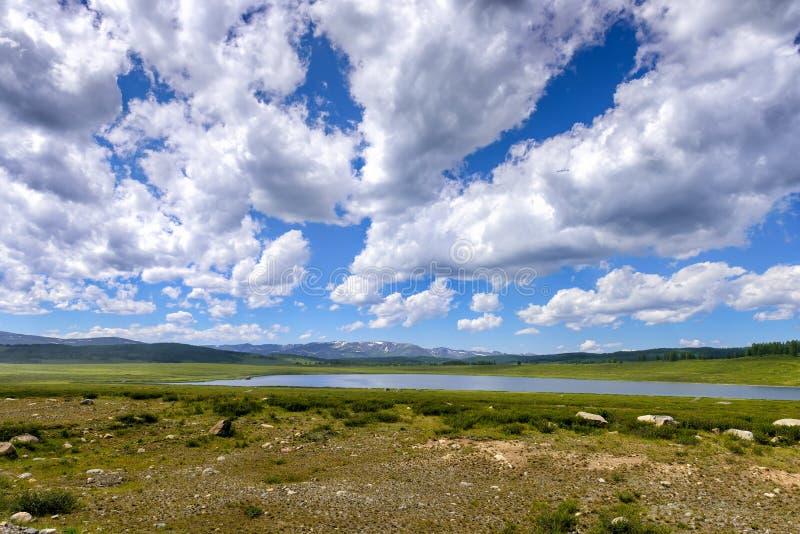 Paisagem com grama e lago verde, nuvens brancas e montanhas na distância durante o dia ensolarado do verão foto de stock