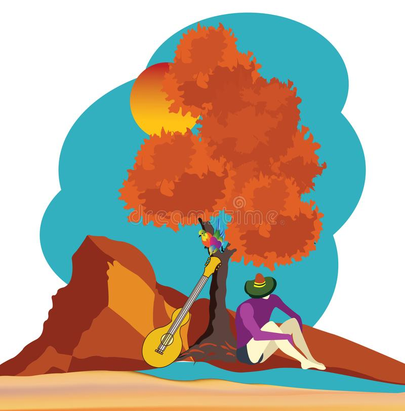 paisagem com homem e sua guitarra ilustração stock