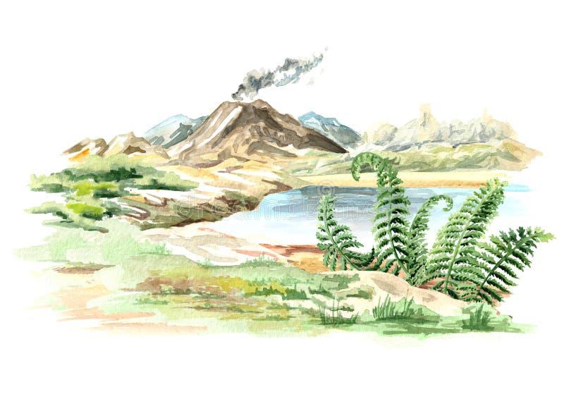 Paisagem com a ilustração tirada mão da aquarela do vulcão ativo isolada no fundo branco ilustração stock
