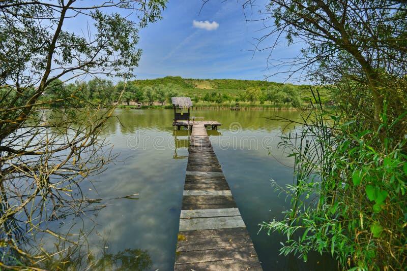 Paisagem com a lagoa de pesca em Oradea fotos de stock