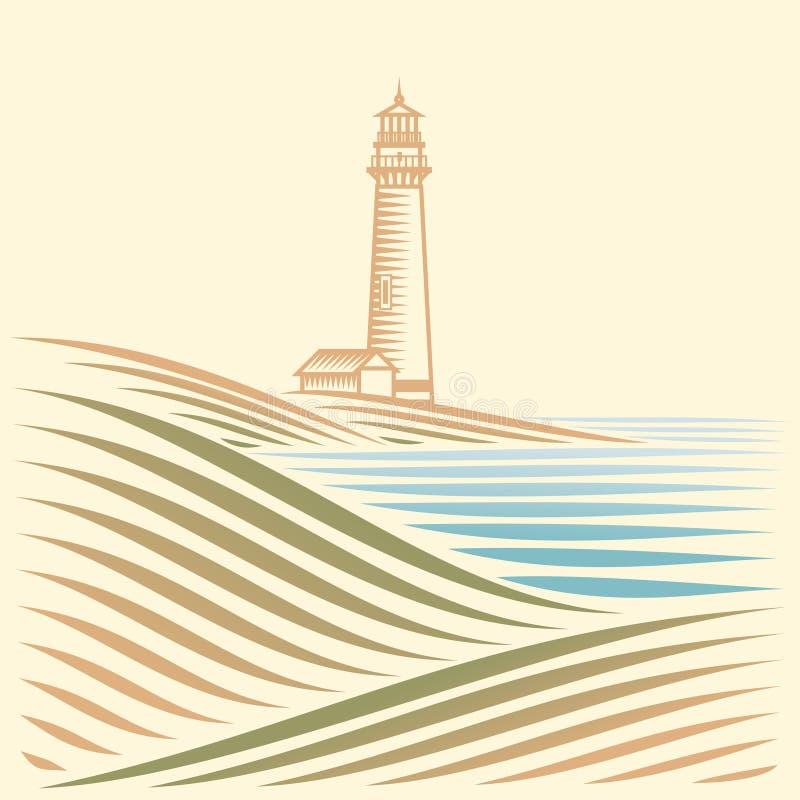 Paisagem com mar e farol ilustração do vetor