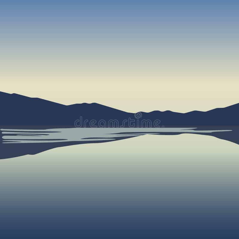 A paisagem com montanhas azuis aproxima o vetor do lago ilustração stock