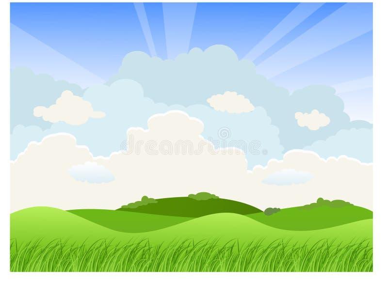 Paisagem com montes e nuvens ilustração stock
