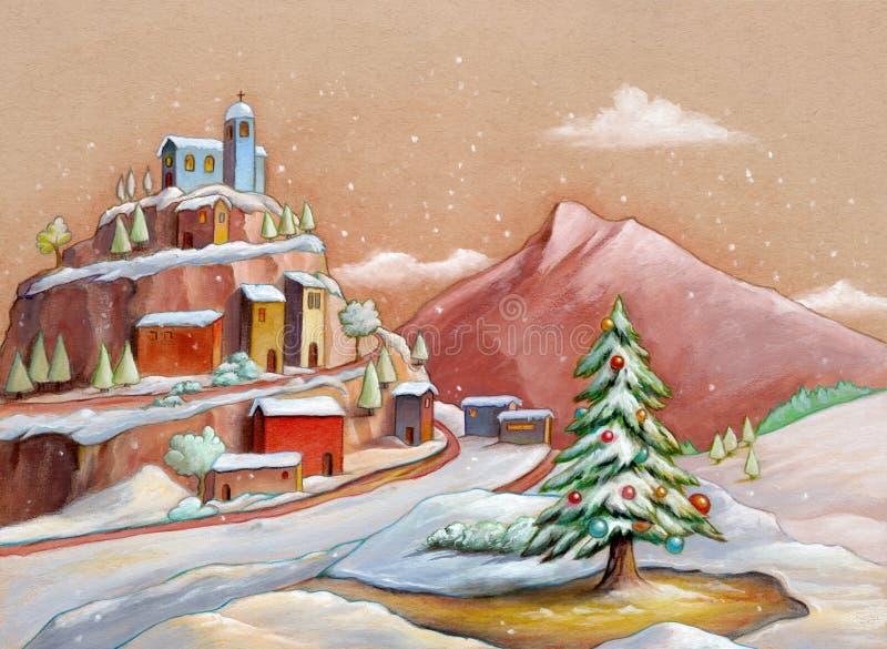Paisagem com neve com árvore de Natal foto de stock royalty free
