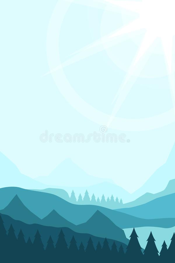 Paisagem com picos de montanha ilustração stock