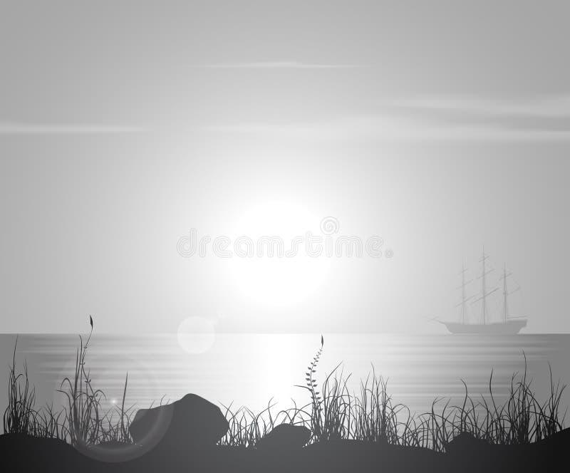 Paisagem com por do sol sobre o mar ilustração do vetor