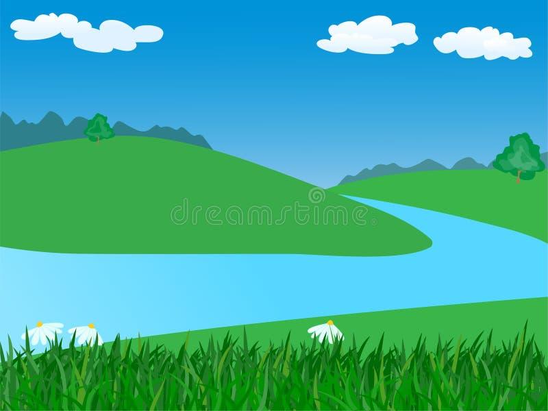 Paisagem com rio ilustração stock