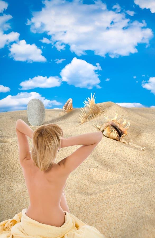 Paisagem com seashell e pedras no céu fotografia de stock