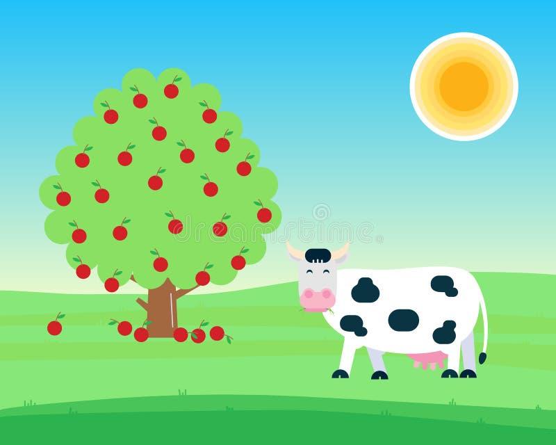 Paisagem com suporte manchado branco preto da vaca e mastigação com grama em sua boca perto da árvore de fruto com illust liso do ilustração do vetor