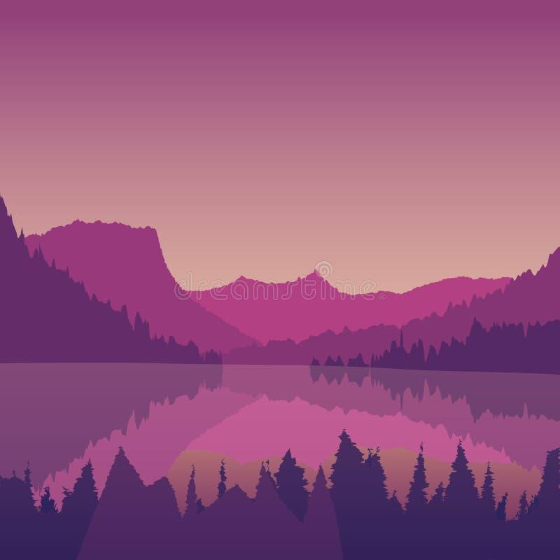 Paisagem com um lago da montanha no por do sol ilustração royalty free