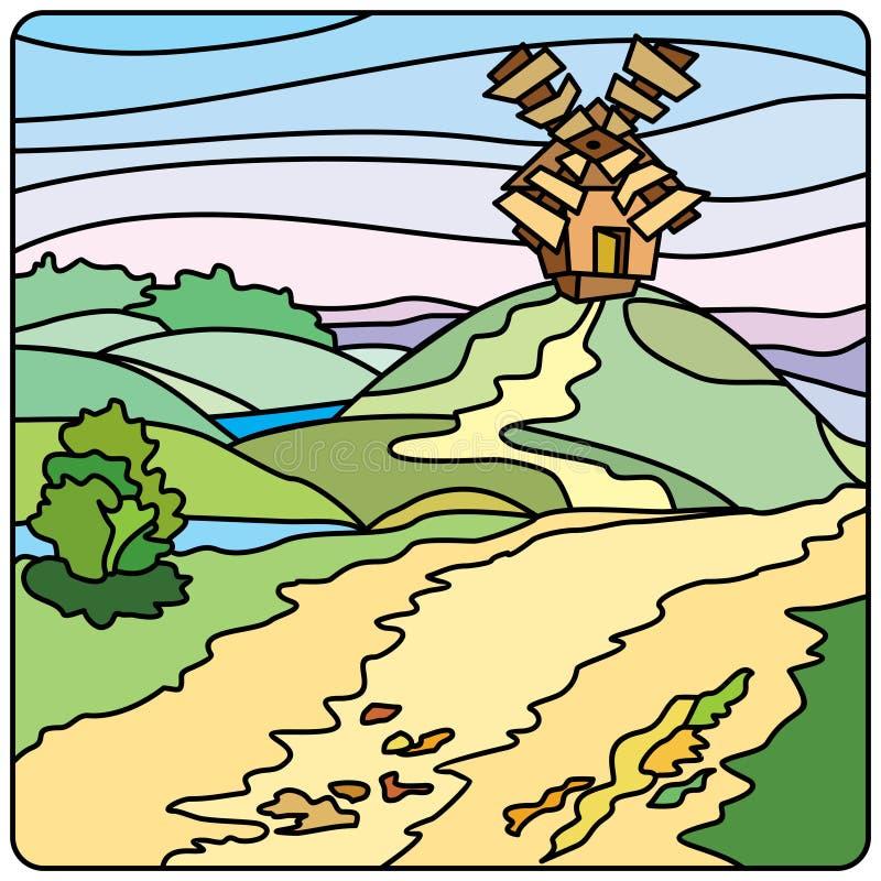 Paisagem com um moinho ilustração royalty free