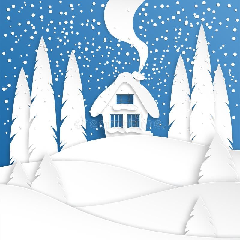 Paisagem com uma casa do inverno na neve Projeto do corte do papel da floresta do abeto vermelho Arte do papel do Feliz Natal e d ilustração do vetor