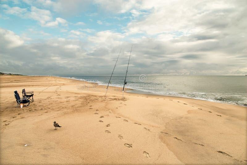 Paisagem com varas de pesca, gaivota de mar e cadeiras do braço Céu azul das nuvens brancas ensolaradas foto de stock