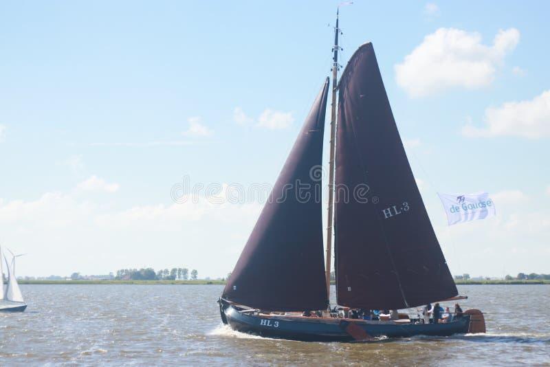 Paisagem com vias navegáveis e canais da Holanda fotos de stock royalty free