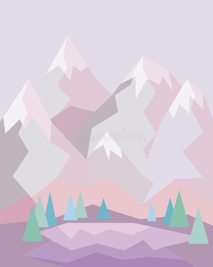 Paisagem cor-de-rosa da montanha com lago e floresta em torno dela ilustração do vetor