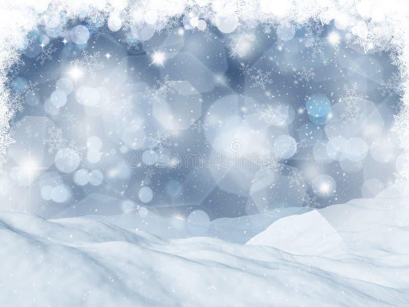 paisagem 3D nevado ilustração stock