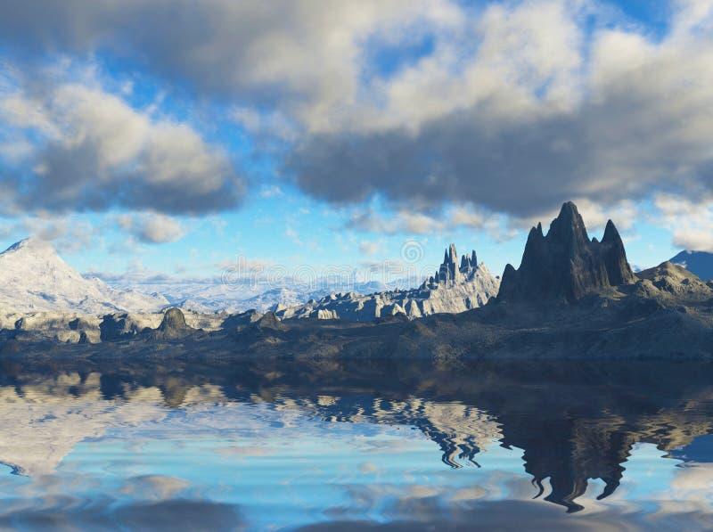 paisagem 3D no planeta da fantasia ilustração stock