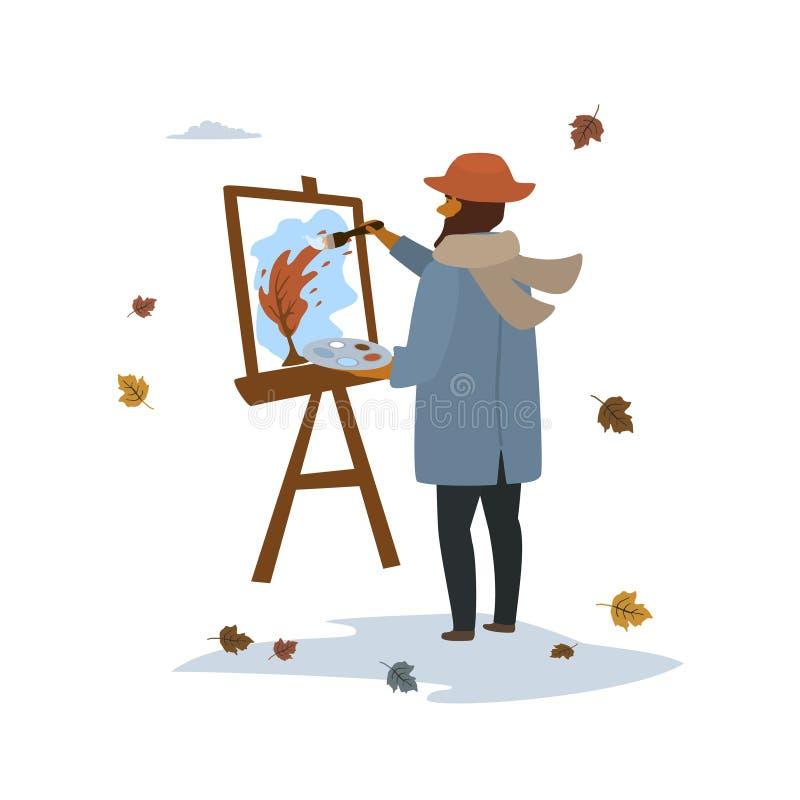Paisagem da árvore do outono da pintura do artista na cena isolada parque da ilustração do vetor ilustração do vetor