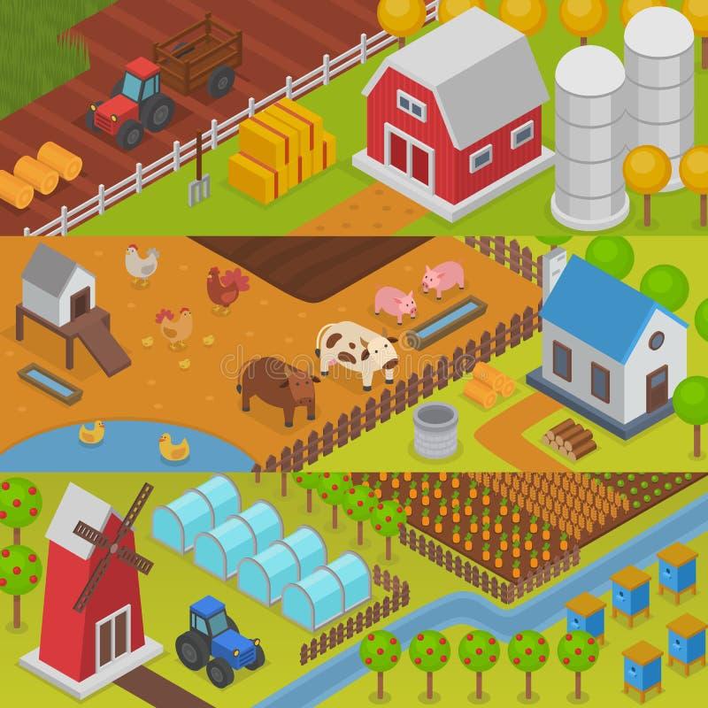 Paisagem da agricultura do vetor da exploração agrícola que cultiva a casa rural da exploração agrícola da ilustração do fundo do ilustração do vetor