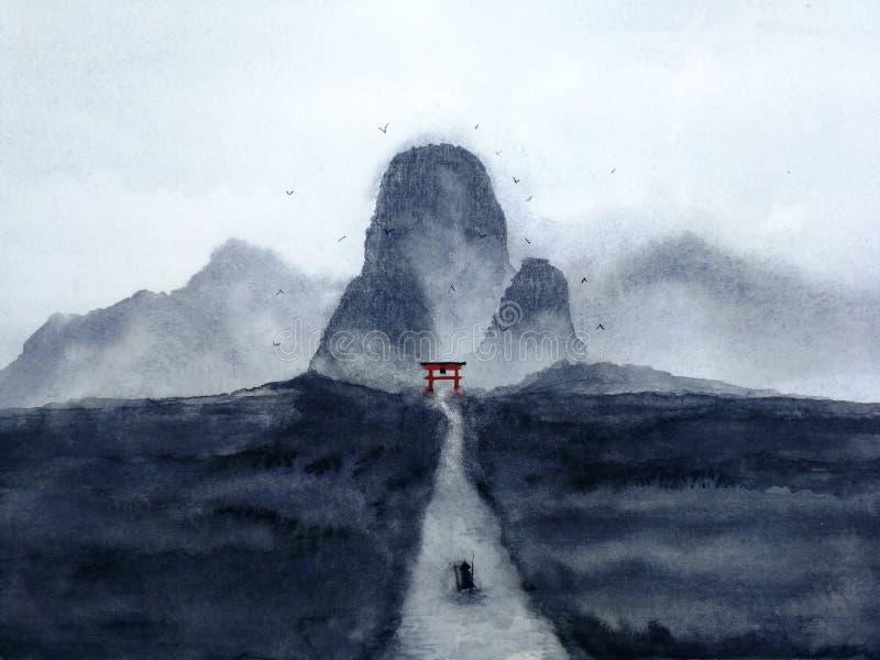 Paisagem da aguarela o barco de navigação do homem no rio através da floresta no vale misterioso da porta japonesa oriental tradi ilustração royalty free