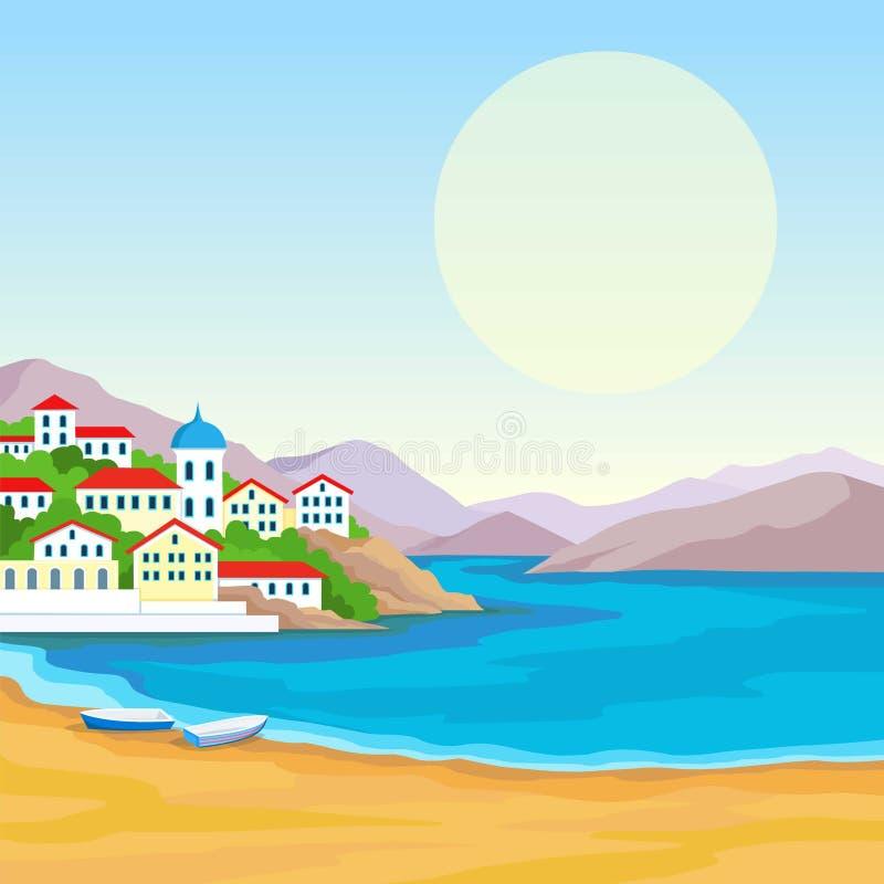 Paisagem da animação: costa de mar, montanhas, porto da cidade antiga ilustração royalty free