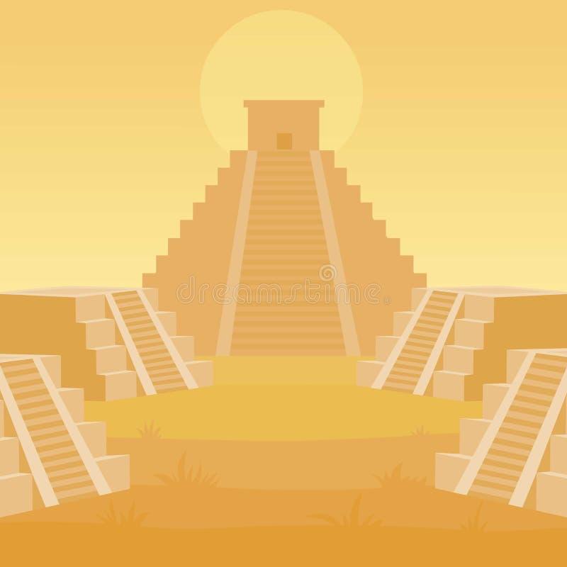 Paisagem da animação de um Maya da pirâmide ilustração do vetor