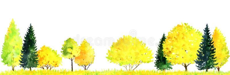 Paisagem da aquarela com árvores ilustração royalty free