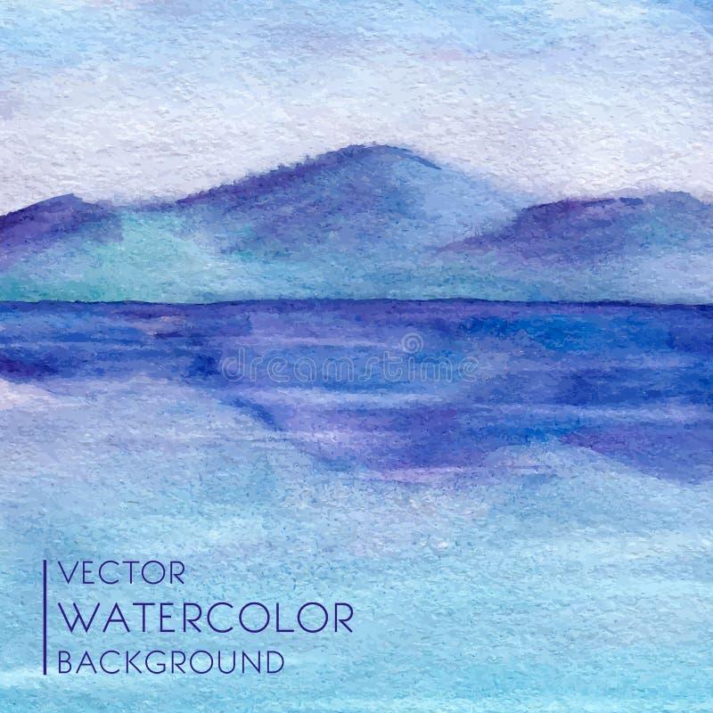 Paisagem da aquarela com lago e montanhas dentro ilustração stock