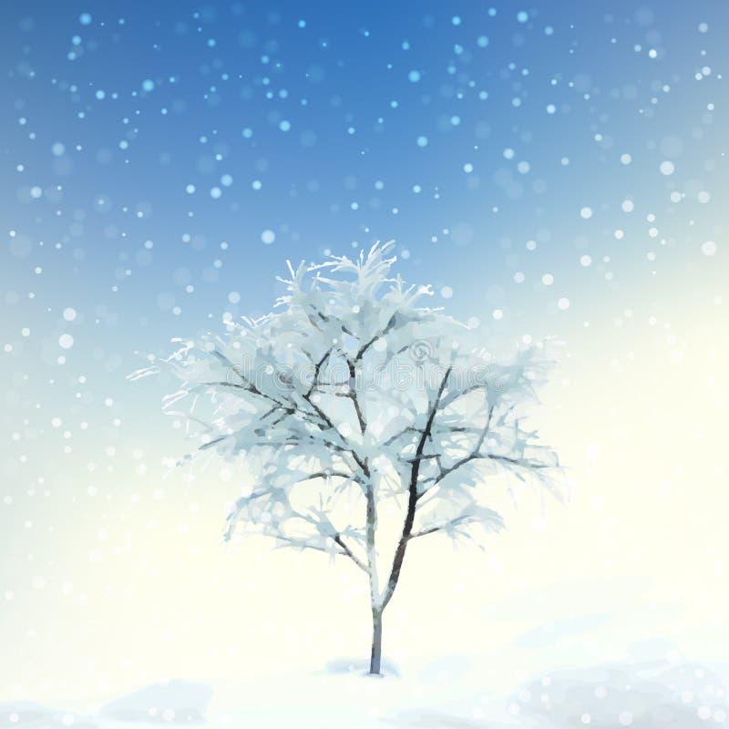Paisagem da aquarela de Digitas do inverno ilustração stock
