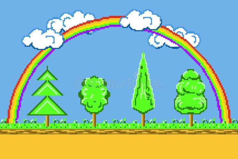 Paisagem da arte do pixel, platformer do jogo do fundo com arco-íris, árvores e vetor das nuvens ilustração royalty free