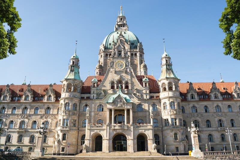 Paisagem da câmara municipal nova em Hanover, Alemanha imagem de stock royalty free